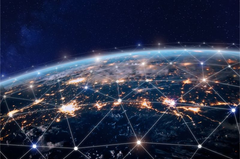 global telecommunication network with nodes connected around earth
